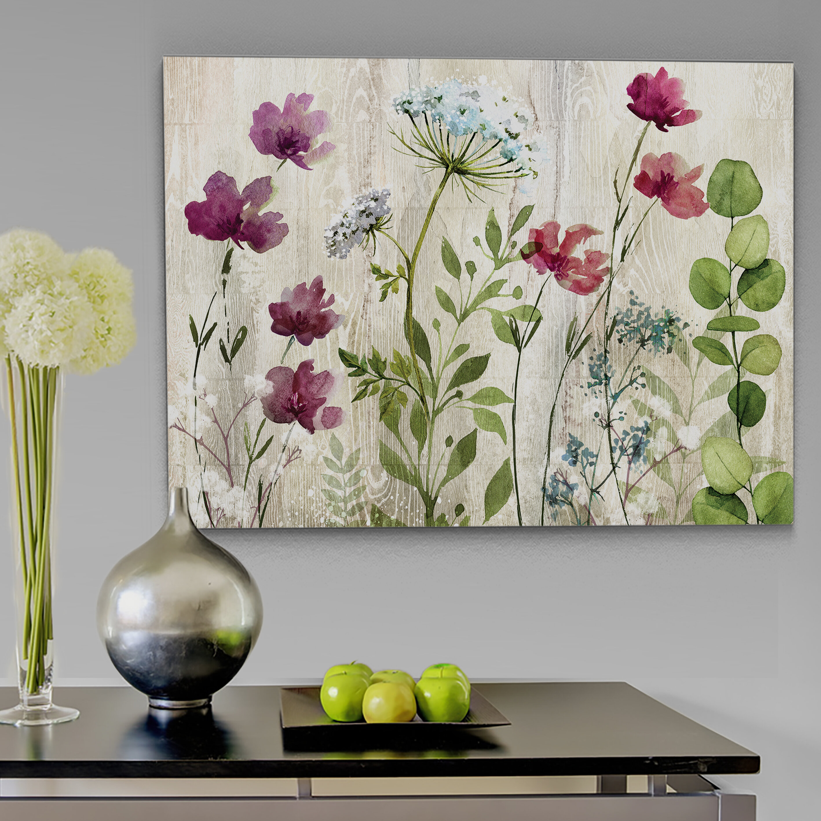 August Grove Meadow Flowers I Watercolor Painting Print On Wrapped Canvas Reviews Wayfair