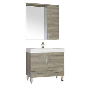 Waldwick Single Modern Bathroom Vanity Set with Mirror