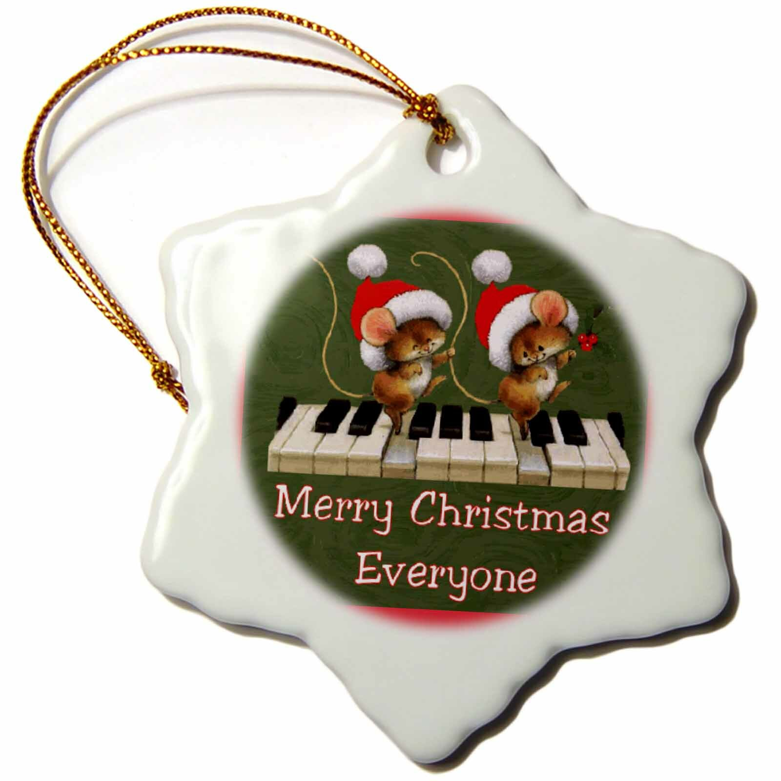 The Holiday Aisle Mice Dancing On A Keyboard Snowflake Holiday Shaped Ornament Wayfair