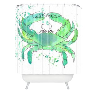 Seafoam Green Crab by Laura Trevey Single Shower Curtain