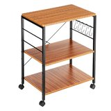 Labarge Bakers Rack Microwave Stand Rolling Storage Kitchen Cart with Manufactured Wood Top by Rebrilliant
