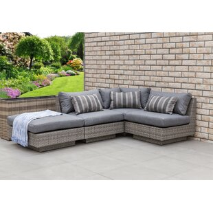 Bungalow Rose Meadow 4 Piece Sectional Set with Cushions