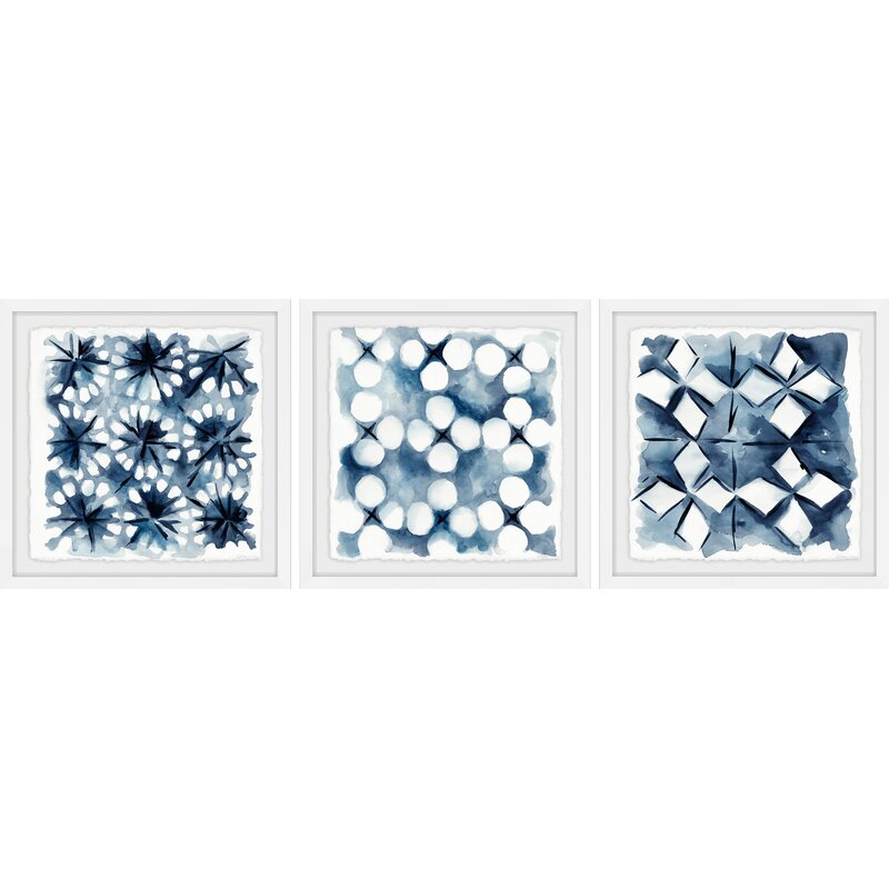 Trule Indigo Study Viii Triptych 3 Piece Picture Frame Print On Paper Reviews Wayfair