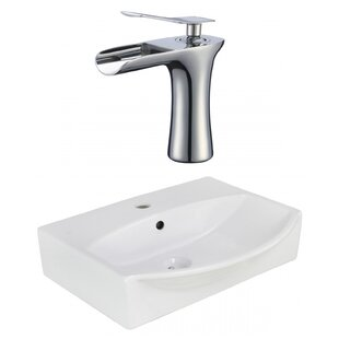 Ceramic Rectangular Wall Mount Bathroom Sink with Faucet and Overflow ByAmerican Imaginations