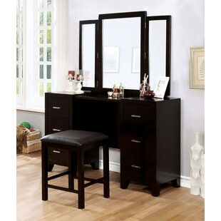 A&J Homes Studio Enrico Vanity with Mirror and Stool