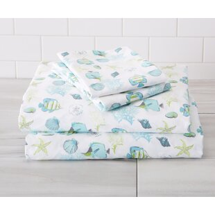 Arrigo Ultra-Soft Double-Brushed Coastal Printed Microfiber Sheet Set by Highland Dunes Best Design