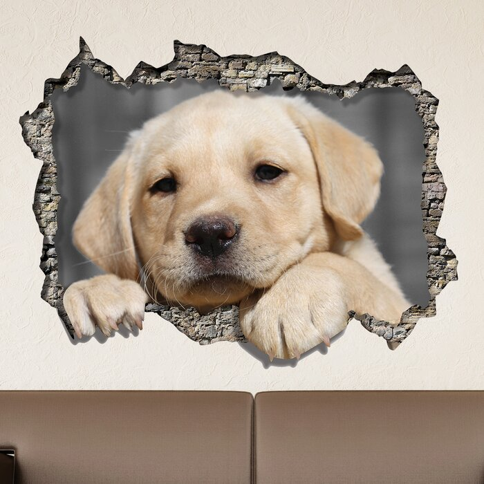 View Through The 3d Wall Dog Wall Decal