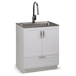 Bostick 28 X 19 Freestanding Laundry Sink With Faucet