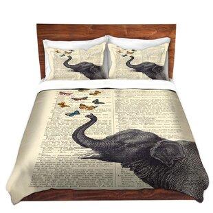 DiaNoche Designs Elephant Butterflies Duvet Cover Set