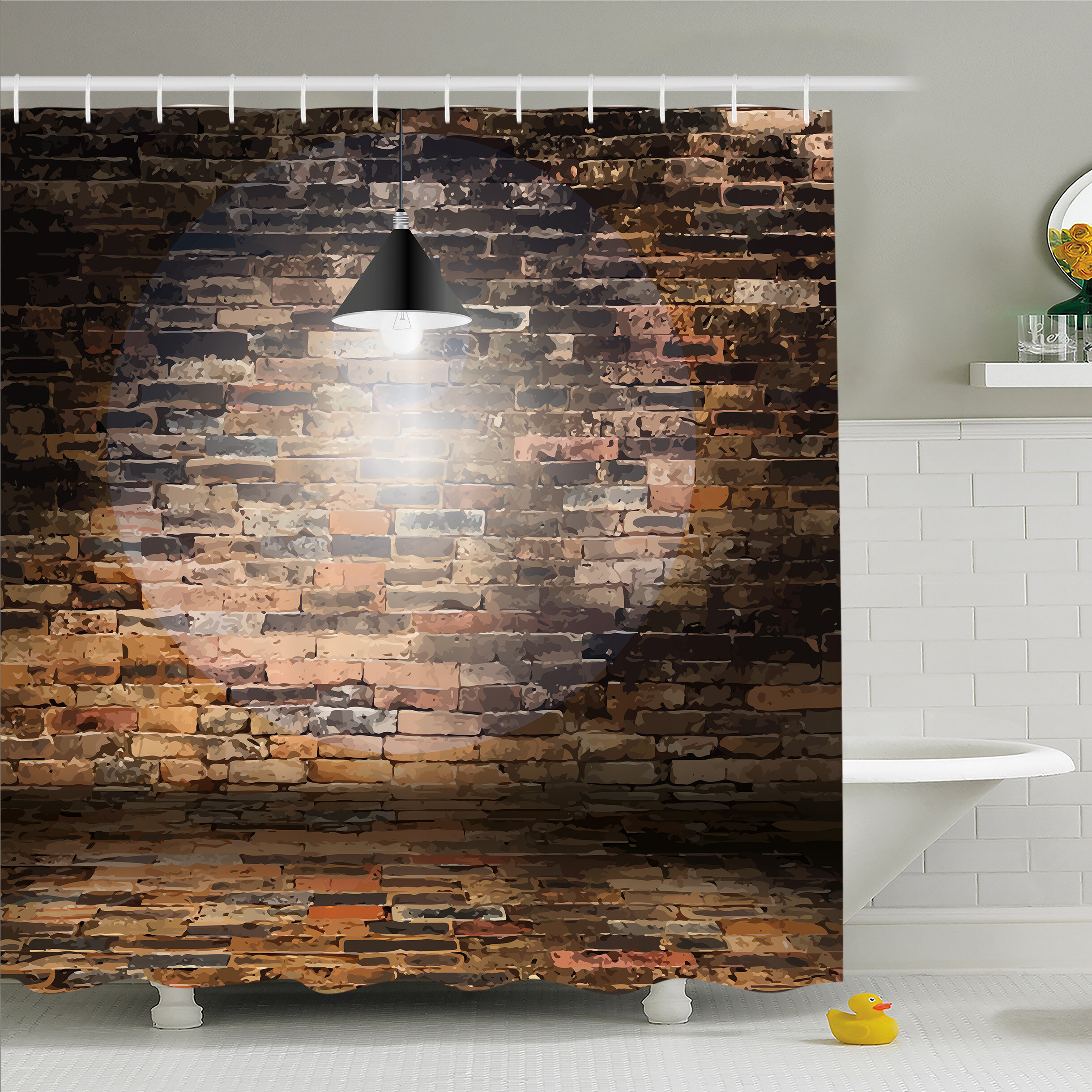 Ambesonne Rustic Home Dark Cracked Bricks Ceiling Lamp Spot Light Building Image Shower Curtain Set