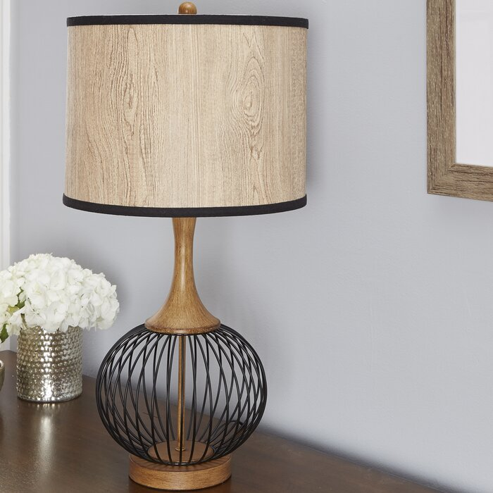 Bungalow rose rishi 18 table lamp with metal wire cage and faux rishi 18 table lamp with metal wire cage and faux wood shade keyboard keysfo Images