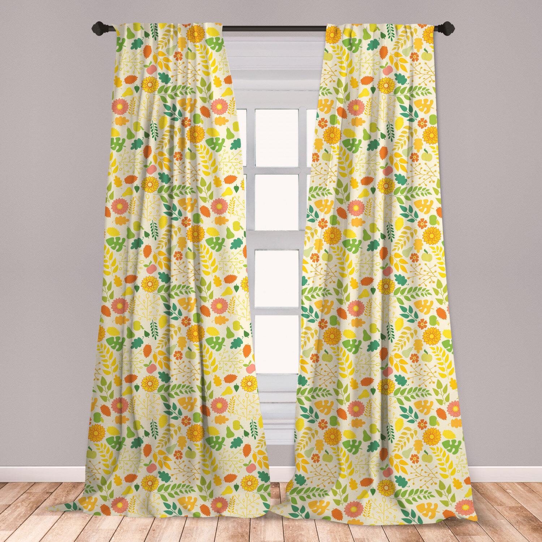 East Urban Home Autumn Floral Room Darkening Rod Pocket Curtain Panels Wayfair