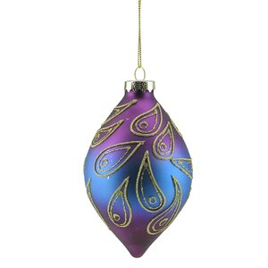 Regal Peacock Glittered Glass Finial Christmas Ornament