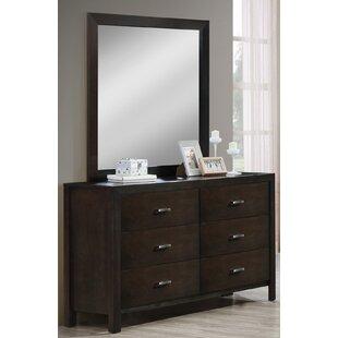 Latitude Run Vanbrunt 6 Drawer Double Dresser with Mirror