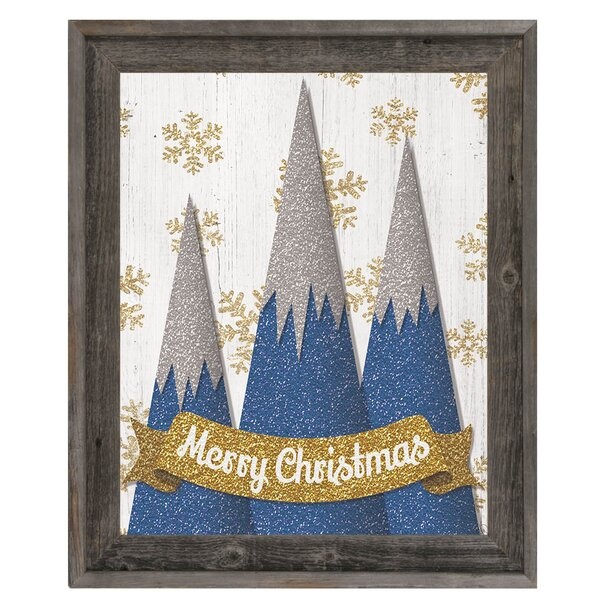 Click Wall Art Merry Christmas Mountains Framed Graphic Art In Blue Wayfair