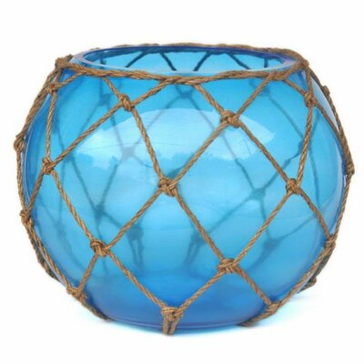 """Japanese Glass Fishing Float Decorative Bowl Handcrafted Nautical Decor Color: Light Blue/Brown, Size: 6"""" H x 8"""" W x 8"""" D"""