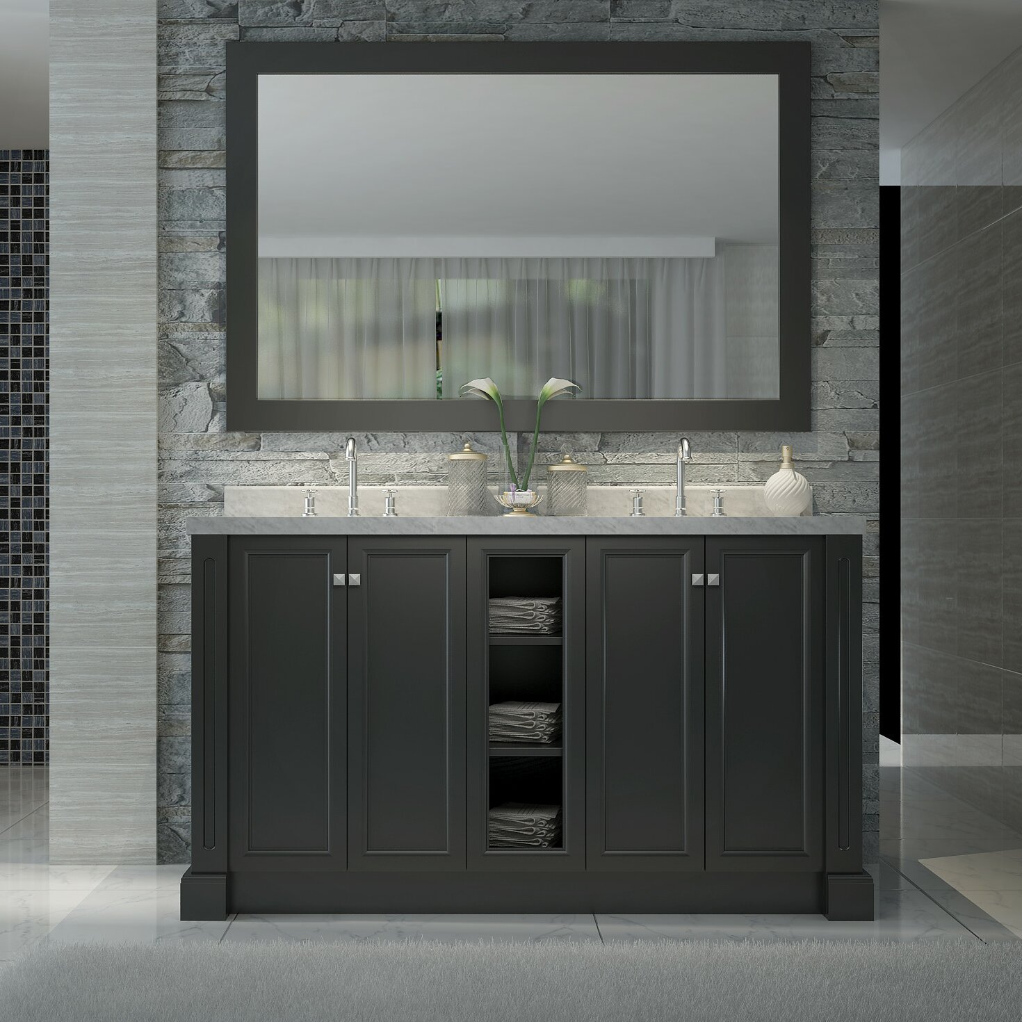 Virtu Usa Ava 61 Single Bathroom Vanity Set In White
