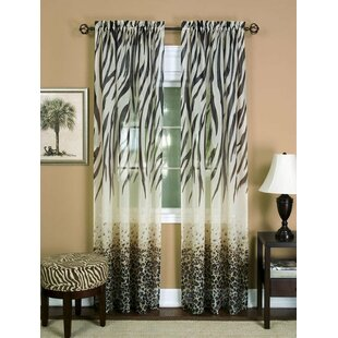 Brunilda Traditional Elegance Wild Safari Window Sheer Single Curtain Panel by Bloomsbury Market