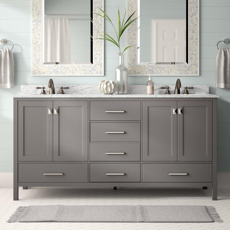 "Home Design Ideas For Condos: Beachcrest Home Newtown 72"" Double Bathroom Vanity Set"