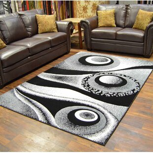 Top Mccampbell Black/White Area Rug By Ivy Bronx