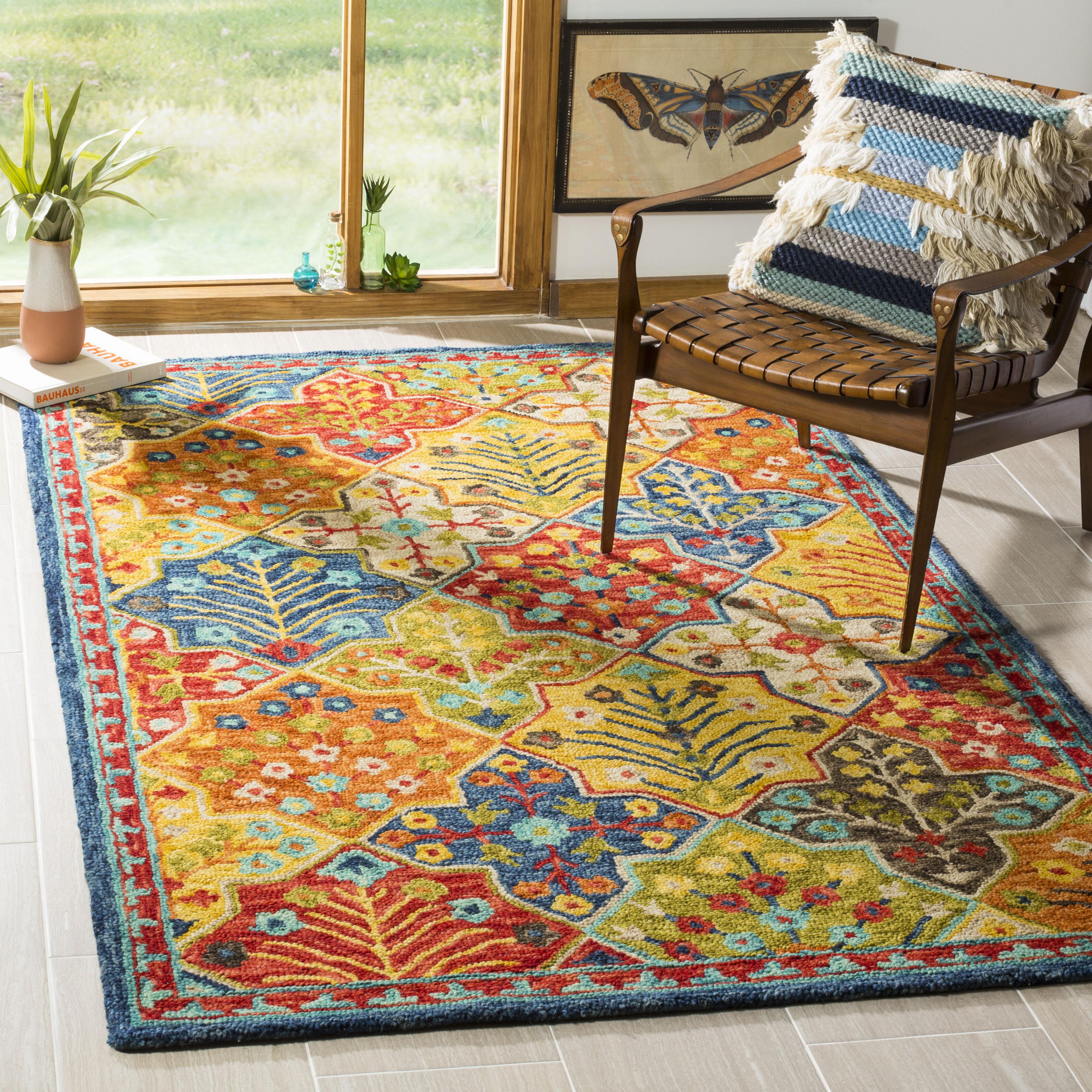 World Menagerie Poulin Wool Blue Orange Area Rug Reviews Wayfair
