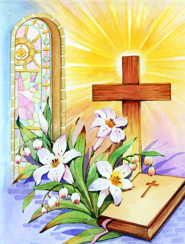 Caroline S Treasures Easter Cross And Bible In Stain Glass