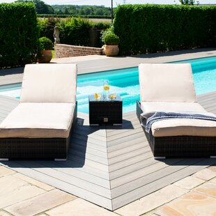 Sandoval Sun Lounger Set With Cushions With Table Image