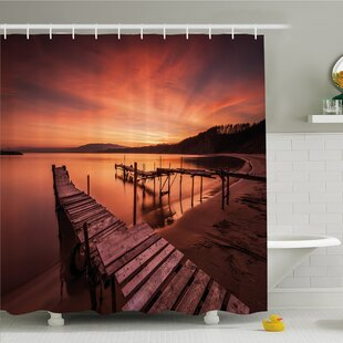 Scenery House Old Rustic Pier on Beach and Romantic Tranquil Sky Pure Twilight Shower Curtain Set