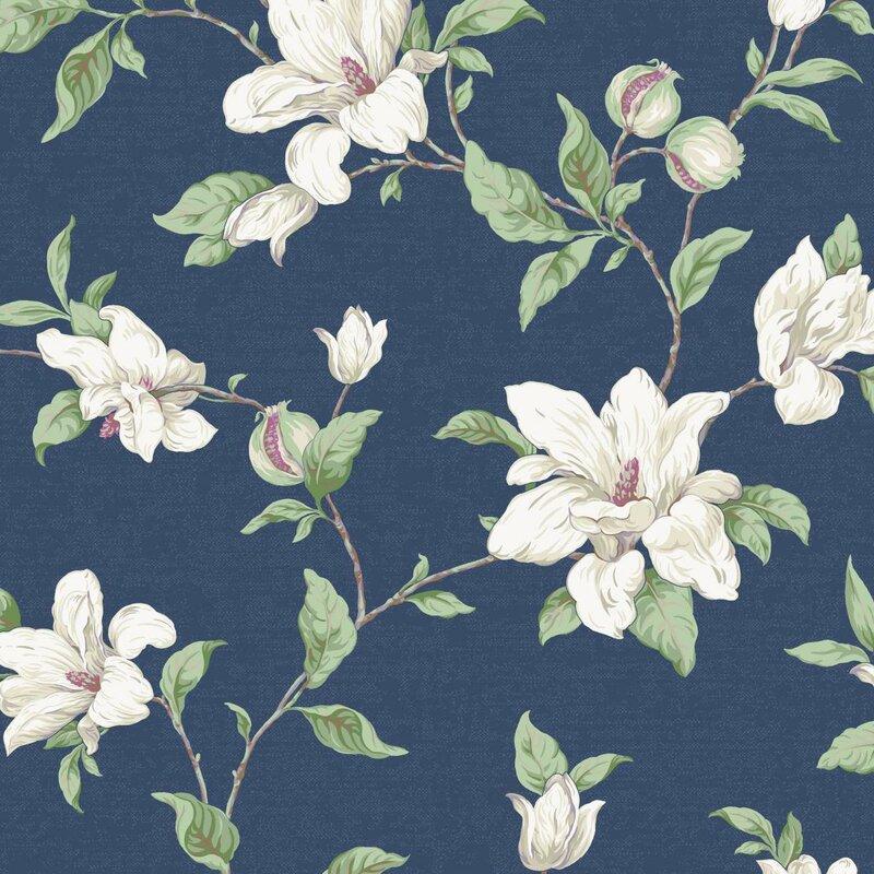"Artisan Estate Magnolia Vine 27' x 27"" Floral Wallpaper"