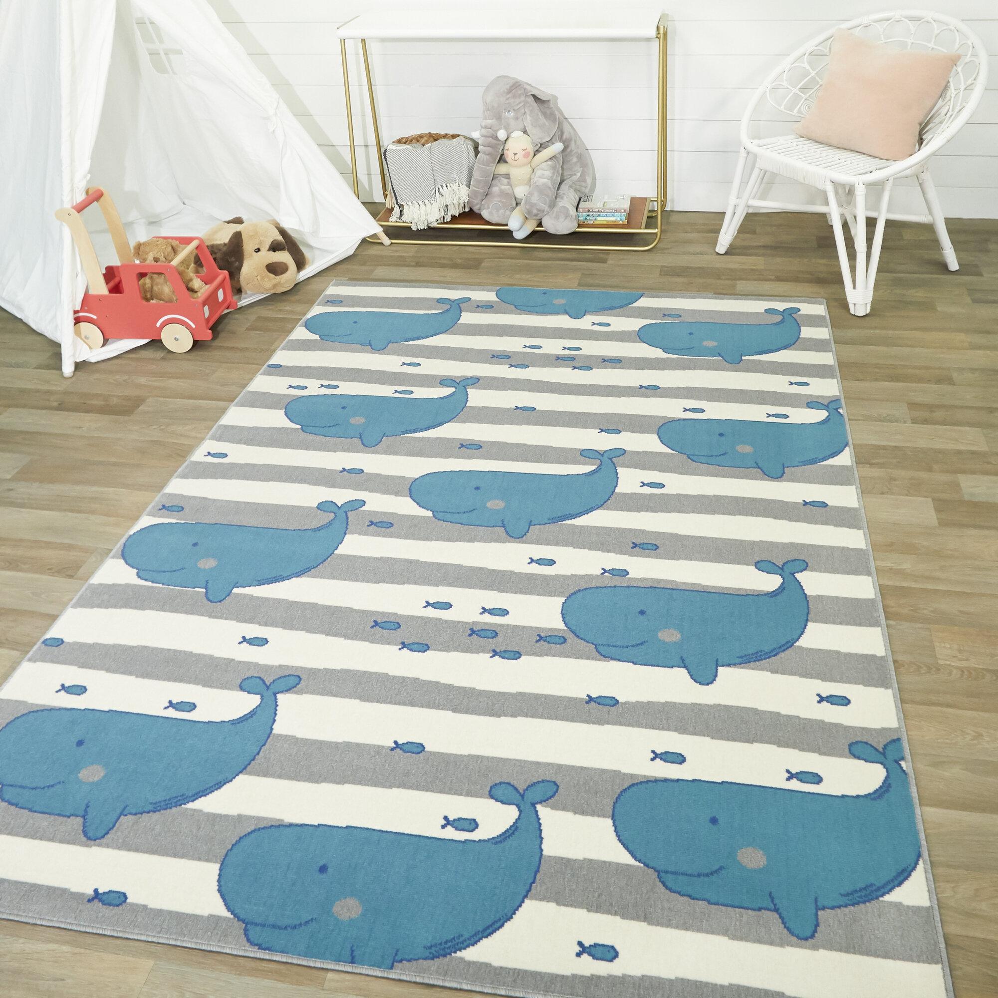Zoomie Kids Paraiso Wonderful Whale Teal Area Rug Reviews Wayfair