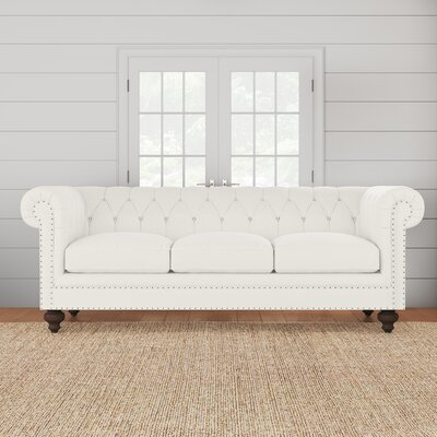 """Pepperell Chesterfield 95"""""""" Rolled Arm Sofa Fabric: Bevin Natural -  BirchLane, DRBH4574 45449403"""