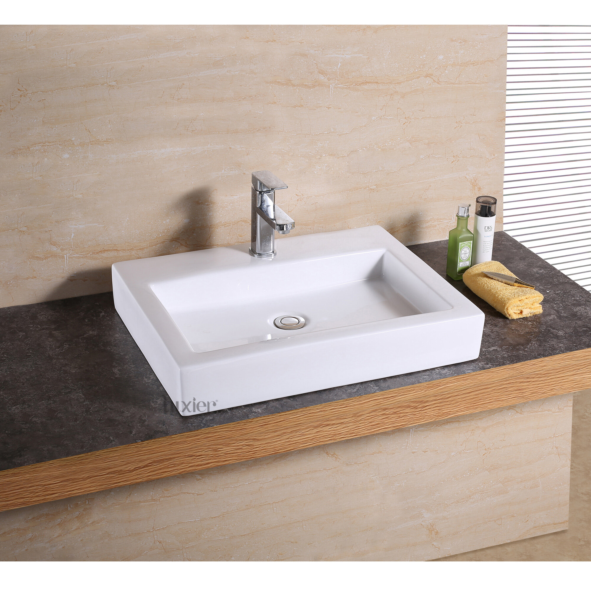 Luxier Glazed White Ceramic Rectangular Vessel Bathroom Sink Reviews Wayfair