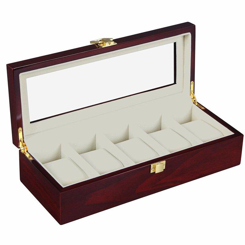 7e0037072 Charlton Home Wooden Organizer 5 Slots Display Case Watch Box | Wayfair