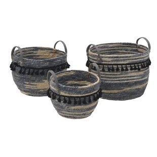 Tassels Fabric 3 Piece Basket Set By World Menagerie