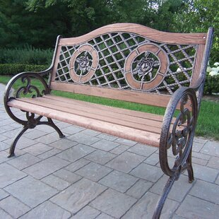 Oakland Living Rose Double Wood and Cast Iron Park Bench