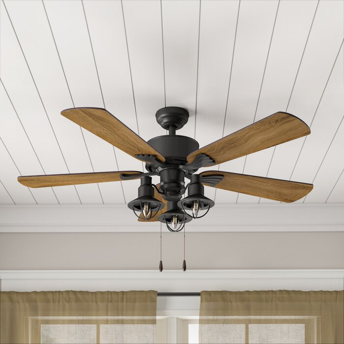 """Weathered Wood 3-Blade 52/"""" Ceiling Fan Remote Industrial Rustic Farmhouse Black"""