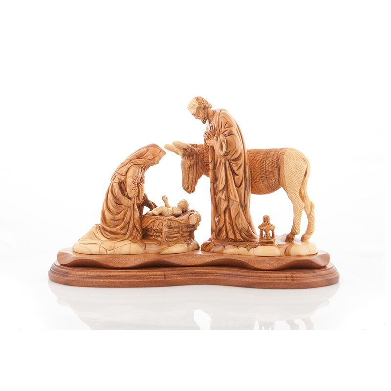 Olive Wood Religious Crafts The Child Jesus Virgin Mary And Saint Joseph Olive Wood Figurine Wayfair