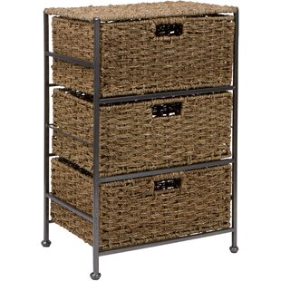 Price Check Seagrass and Metal 3-Drawer Storage Chest By Trademark Innovations