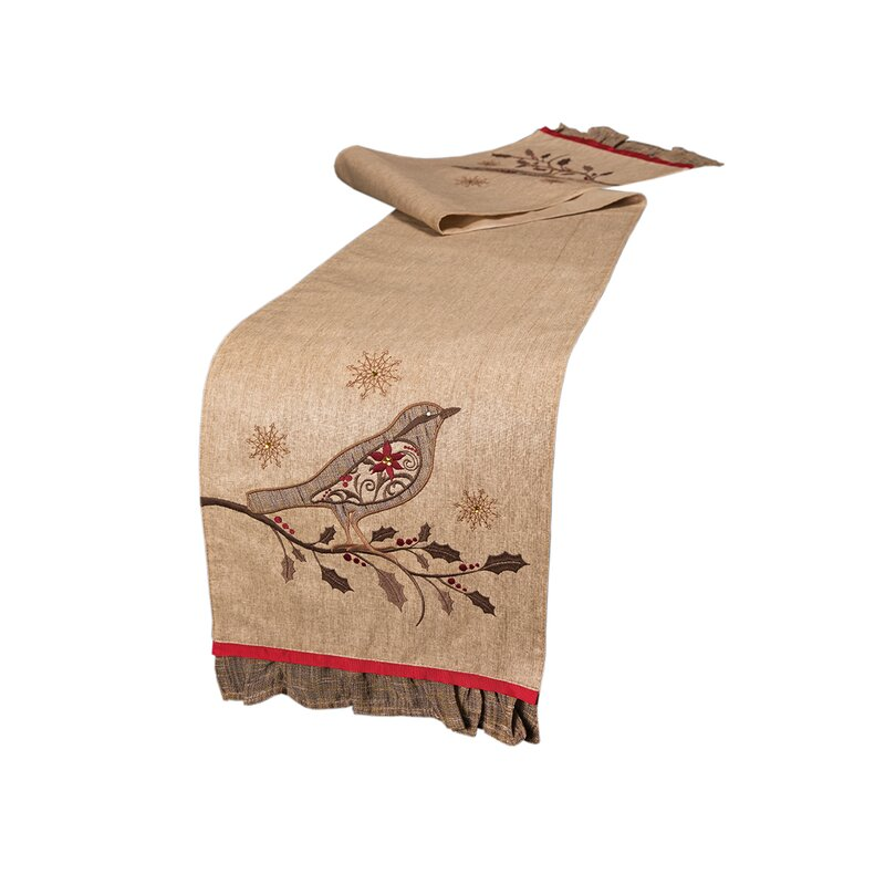 Xia Home Fashions Bird On Twig Emboridery Table Runner | Wayfair