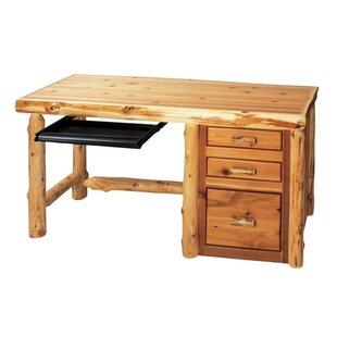 Fireside Lodge Traditional Cedar Log 4 Piece Desk Office Suite