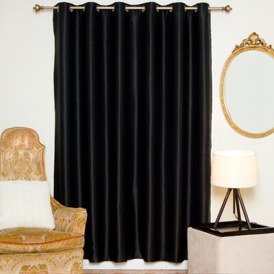 "Solid Blackout Thermal Grommet Single Curtain Panel Blackout Curtain Color: Black, Size per Panel: 100"" W x 84"" L"