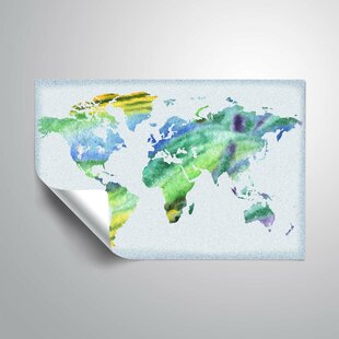 World map wall decal wayfair medford gentle blue world map wall decal gumiabroncs Choice Image