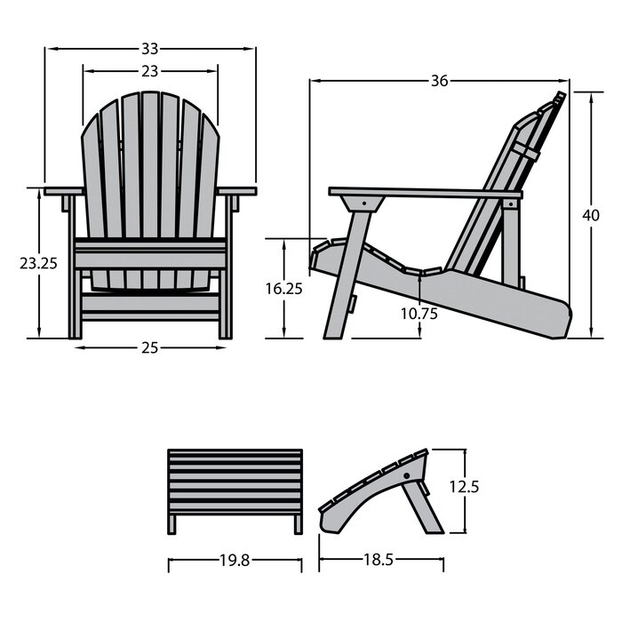 Deerpark Plastic Folding and Reclining Adirondack Chair with Ottoman