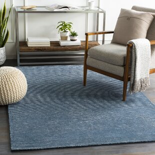 Dafne Hand-Tufted Wool Navy/Denim Area Rug by Wrought Studio
