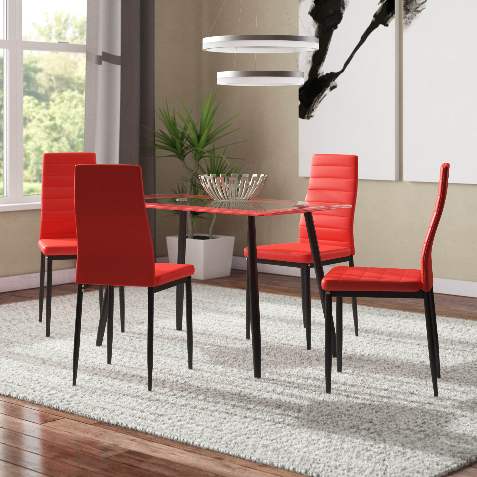 Orren Ellis Linette 5 Piece Dining Table Set & Reviews | Wayfair