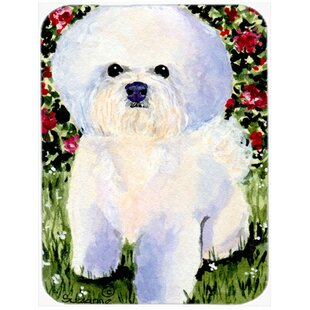 Bichon Frise and Flowers Rectangle Glass Cutting Board By East Urban Home