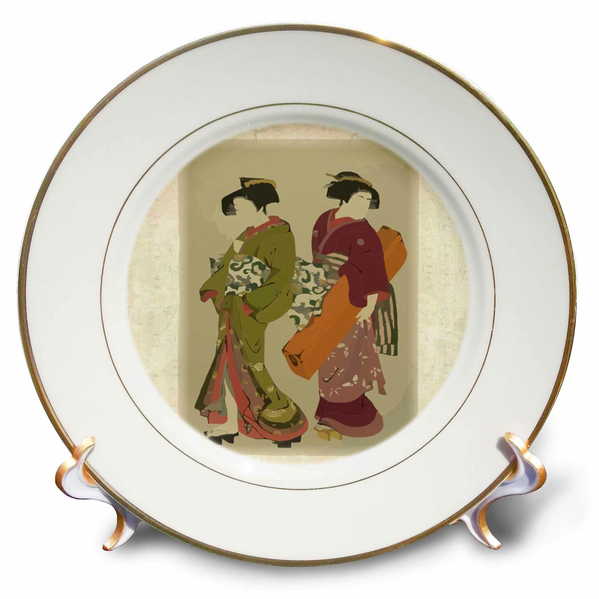 East Urban Home Ancient Japanese Art Of Geisha N Servant Porcelain Decorative Plate Wayfair