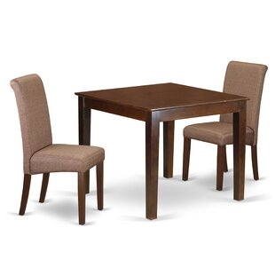Kelsie Square Table 3 Piece Extendable Solid Wood Breakfast Nook Dining Set Winston Porter
