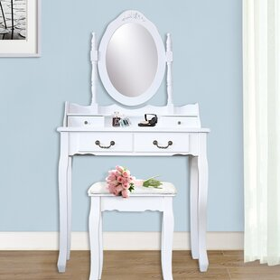 Ophelia & Co. Kistler Wood 4 Drawer Vanity Set with Mirror