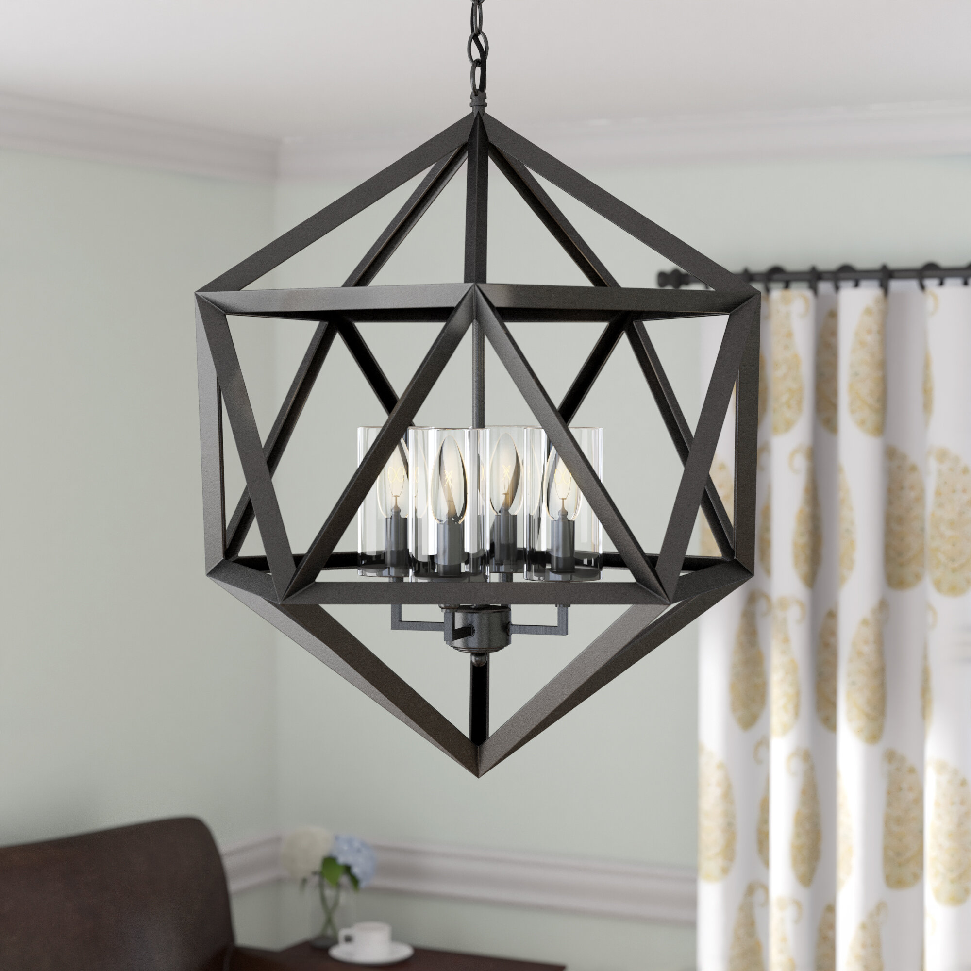 Mercury Row Schrader 4 Light Lantern Geometric Chandelier Reviews Wayfair